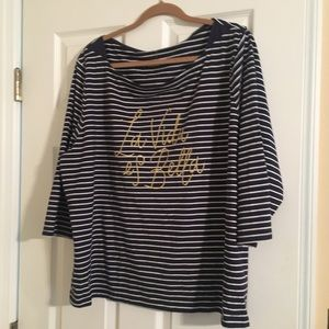 Tops - Blue and white striped 3/4 sleeve shirt